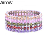 JINYAO Fashion Simple White Gold Color Round Colorful Cubic Zircon Bracelet Bangle Jewelry For Women Wedding Party Bracelet