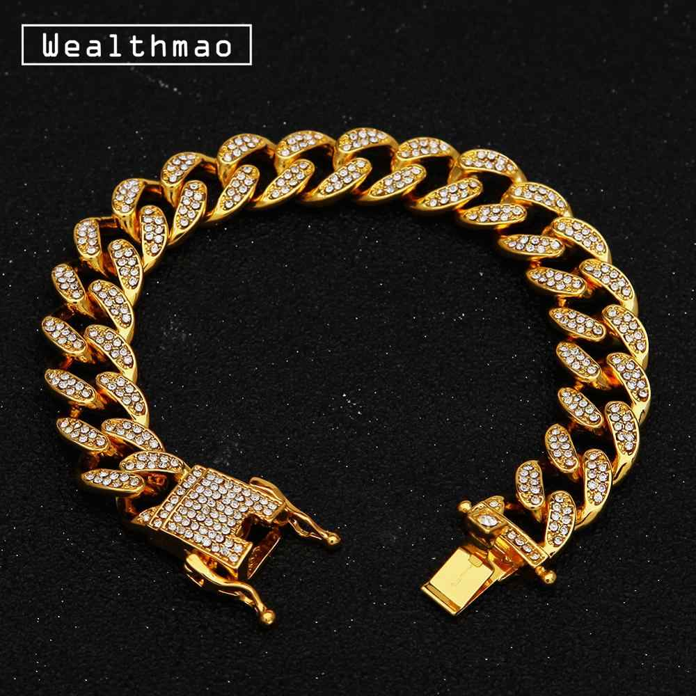 13mm Men's Luxury Rhinestone Gold Silver Hip Hop Iced Out Bling Bracelet Bangle Miami Cuban Chain Link Bracelets Jewelry 8""