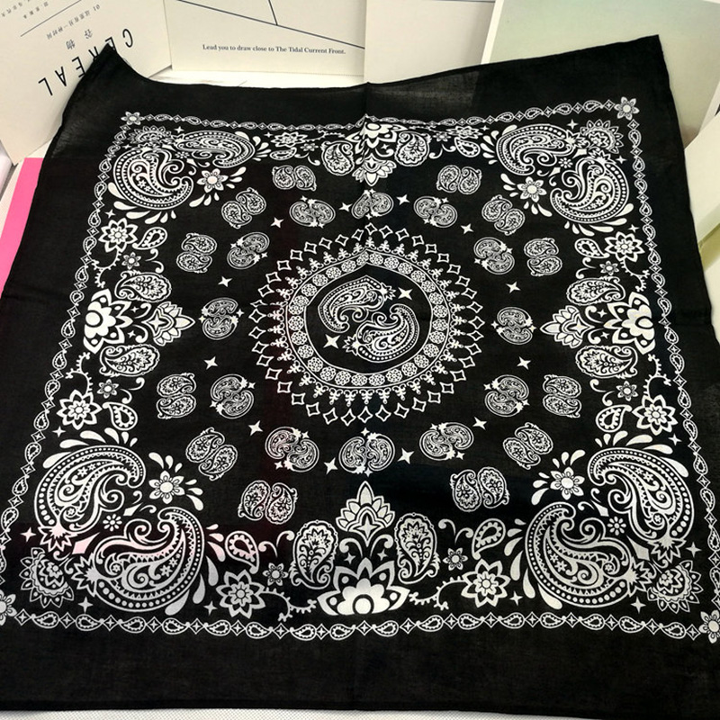 High Quality Fashion Hip Hop Cotton Bandana Square Cashew Scarf Headband Unisex Black Red Paisley Gifts For Women/Men/Boys/Girls
