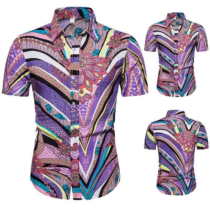 New Mens Purple Floral Shirts Summer Hawaiian Shirt Fashion Slim Fit Short Sleeve Cotton Men Tops Chemise Homme Camisa Masculina