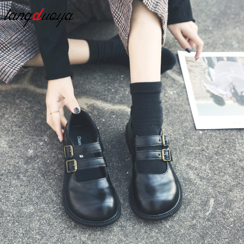 Women Uniform Shoes Lolita Shoes Students School Oxford Cosplay JK Dress Shoes