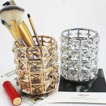 Europe Metal Makeup Brush Storage Box Eyebrow Pencil Comb Organizer Crystal Jewelry Bucket Sign The Pen Holder