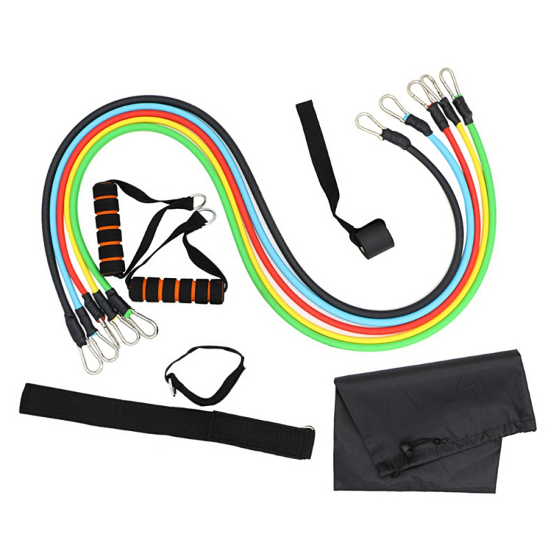 11PCS Resistance Band Tube Set Stretch Home Training Rubber Expander Tube Pilates Fitness Elastic Pull Ropes Equipments