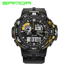 digtal watch men dual display waterproof led watch outdoor Swim sport fashion diving electronic wristwatch black Alarm clock(China)