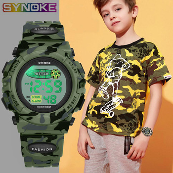 SYNOKE Sports Military Kids Digital Watches Student Children's Watch Fashion Luminous Led Alarm Camouflage Green Boy Clock
