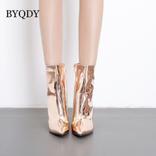 BYQDY Womens Autumn Ankle Boots Pointed Toe Thick High Heel Fashion Gold Silver Patent Leather Pumps USA Size 35-40