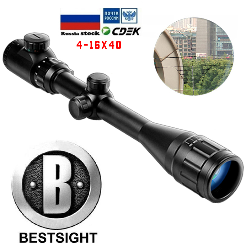 B BESTSIGHT 4-16X40 AOE Optics Riflescope Red&Green Illuminated Sight Rifle Scope Sniper Gear For Hunting Scopes  Airsoft Rifle