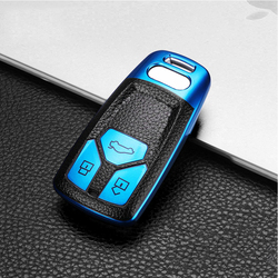 2020 Leather+TPU Car Smart Key Cover Full Case For Audi A4 A4L A6L A5 B9 Q5 Q7 TT TTS 8S S5 S7 2017 2018 2019 Ring Accessories