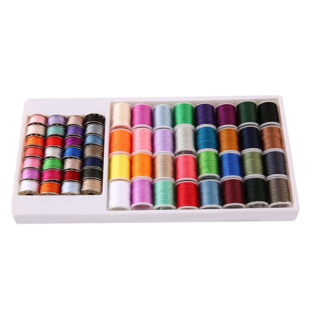20pcs//Box Metal Sewing Machine Bobbins+Sewing Thread Assorted Spools 20 Colors