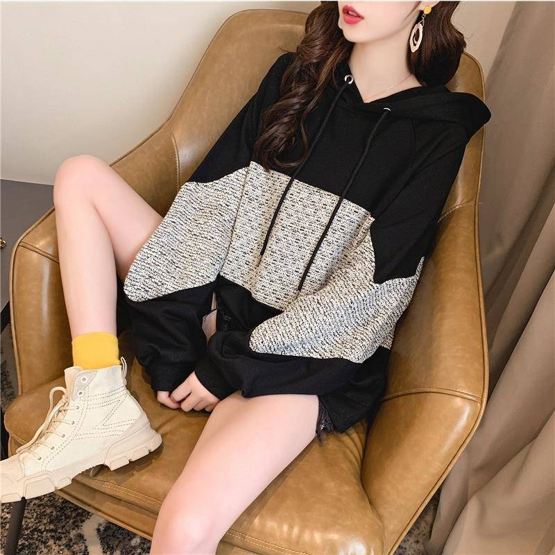 Fashion Autumn Patchwork Hooded Sweatshirts Women Winter Long Sleeve Casual Pullovers Lady Drawsting Sweatshirt Tops Female
