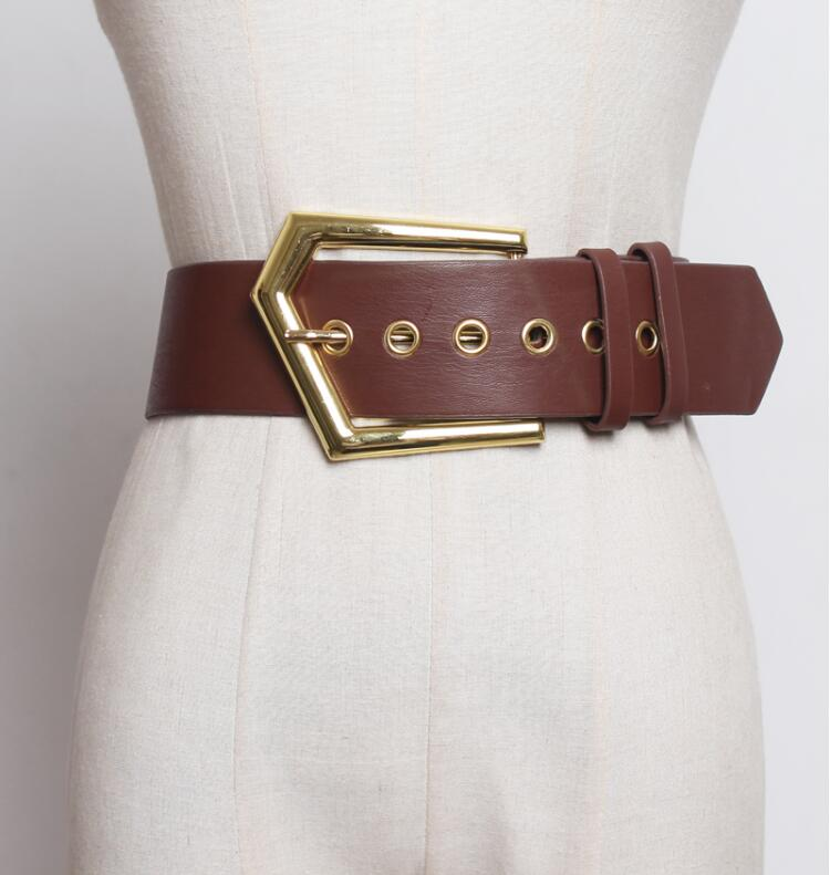 Women's Runway Fashion Gold Buckle Pu Leather Cummerbunds Female Dress Corsets Waistband Belts Decoration Wide Belt R2412