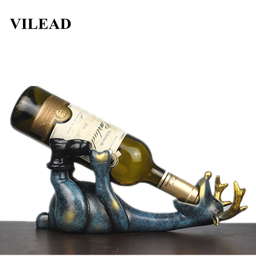 VILEAD 14cm reçine Elk şarap şişesi tutucu figürler avrupa yaratıcı yalan geyik süs hayvan şarap rafı zanaat dekorasyon Hogar title=