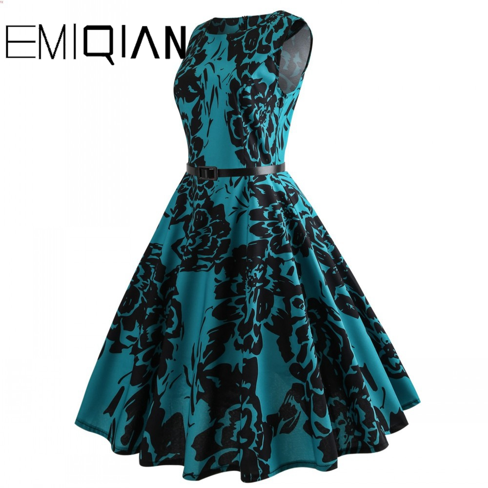 Fashion Women Sleeveless Flower Print Banquet Dress Simple Knee Length Floral Print Homecoming Dress