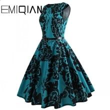 Fashion Women Sleeveless Flower Print Banquet Dress Simple Knee Length Floral Print Homecoming Dress