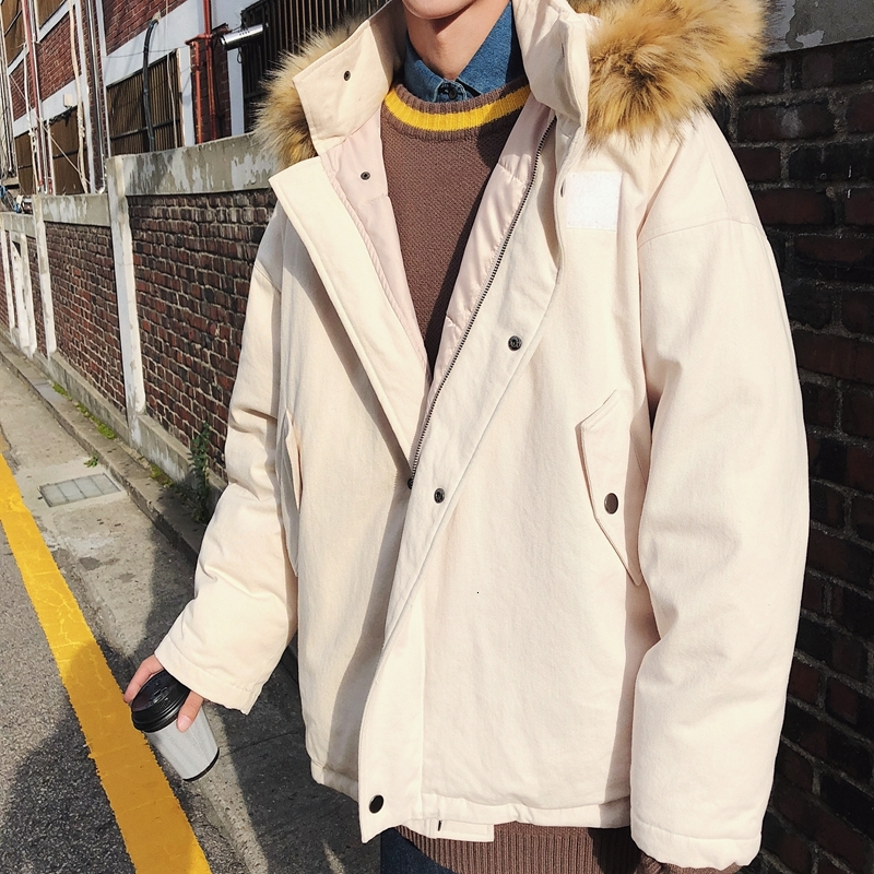 Зимнее пальто с меховым воротником, Мужская теплая Толстая парка, Мужская модная однотонная Повседневная куртка с капюшоном, мужская