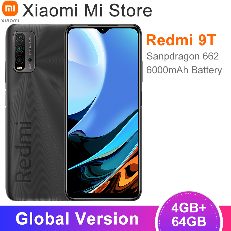 Глобальная версия Xiaomi Redmi 9T смартфон 4 Гб оперативной памяти, 64 Гб встроенной памяти, процессор Snapdragon 662 процессор 48MP Quad Camera 6000 мАч батарея ...