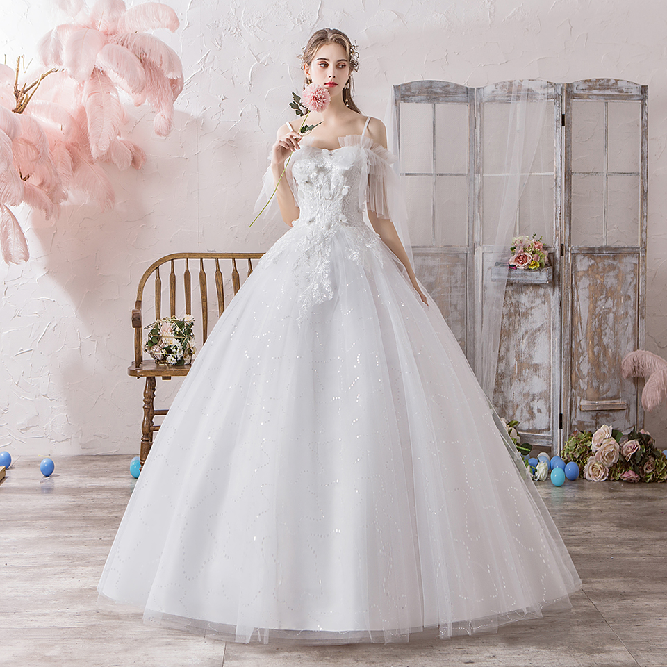 Ball Gown Wedding Dress 2019 Sweet Princess Lace-up Wedding Dress Sweetheart Bride Dress Floor-Length