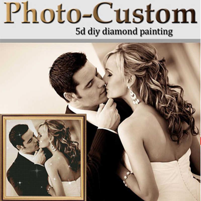 Miaodu zdjęcie spersonalizowany diament malarstwo Cross Stitch pełny obraz na płótnie z Rhinestone DIY diament mozaika diamentowa haft sprzedaż