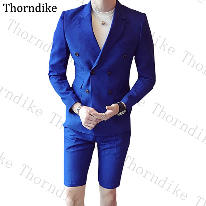Thorndike Custom Made <font><b>Men</b></font> <font><b>Suit</b></font> 2 Peices Sets Solid Man <font><b>Suits</b></font> (Blazers+<font><b>Shorts</b></font>) Buttons Slim Casual Fashion Summer Man <font><b>Suit</b></font> 2020 image
