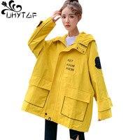 UHYTGF Woman fashion windbreaker coats Baseball uniform student autumn trench coat for women Hooded 2XL plus size outerwear 902