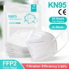 Masques faciaux KN95 FFP2, 5 couches filtrantes, protection pour la santé, respirateur 200, 5 à 95% pièces