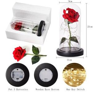 Image 5 - Piękna i bestia róża róża w szklanej kopule LED wieczna róża czerwona róża walentynki dzień matki specjalny romantyczny prezent