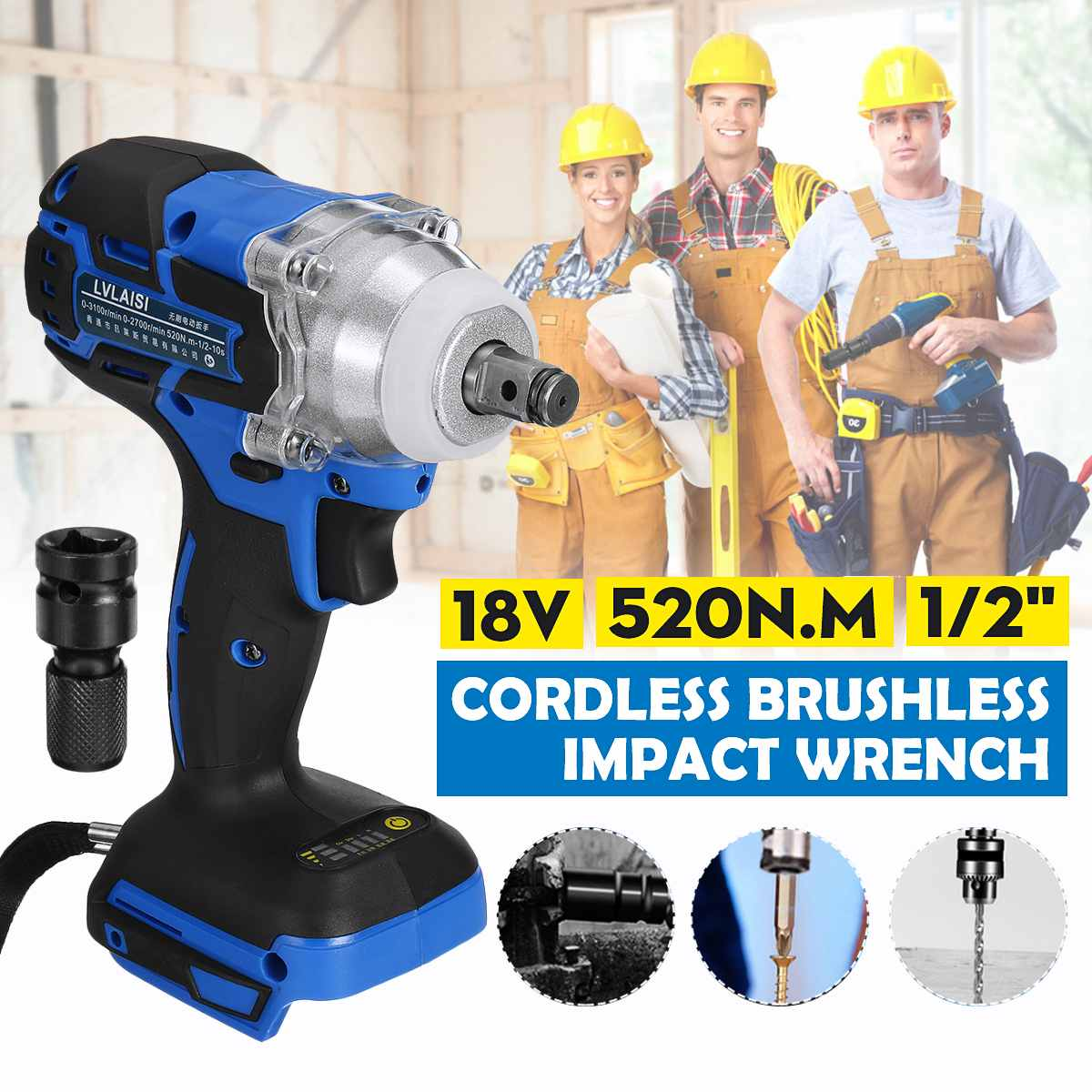 18V 520N.m. Li-Ion Cordless 1/2 Impact Wrench Driver Replacement For Makita Battery DTW285Z