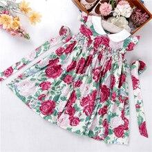 Vestidos de verão para meninas, vestidos florais e babados para bebês, roupas infantis de algodão para fumar, fantasias feitas à mão