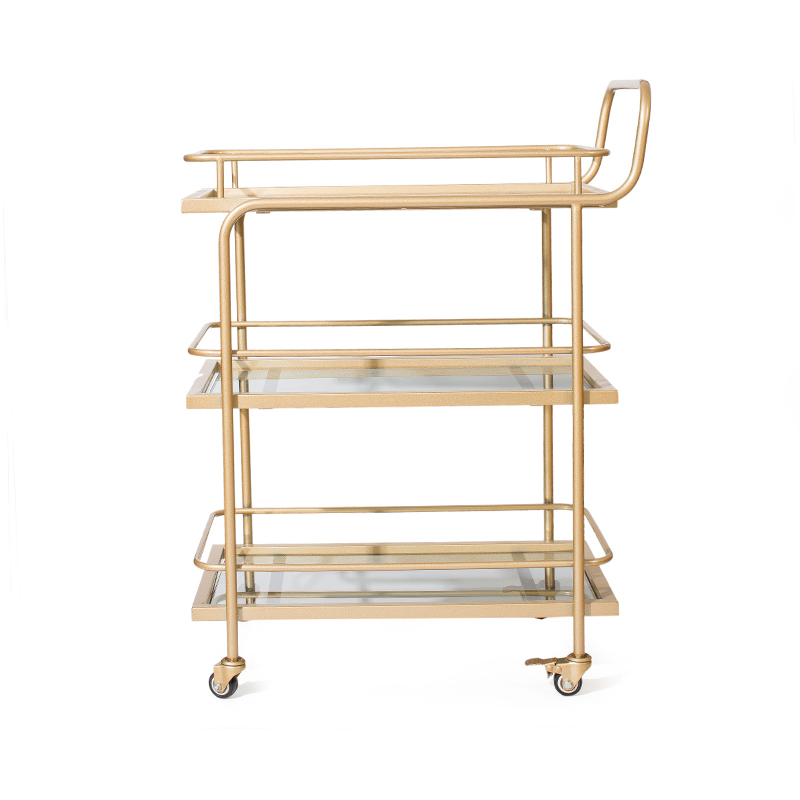 Nordic Golden Hotel Drinking Trolley Restaurant Mobile Delivery Trolley Creative Edge Tea Trolley Gereedschapswagen Cheap