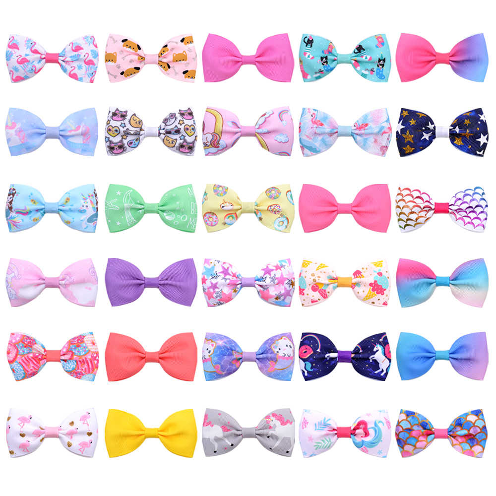 30colors 1 pcs Colorful Kids Small Bowknot Hairgrips Mini Sweet Printed Ribbow Bow Safety Children Hair Clips Hair Accessories