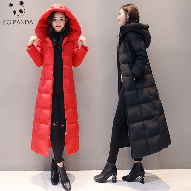 Chic Women Fur Collar Hooded Duck Down Coat Long Jacket Slim Warm Thicken Parka