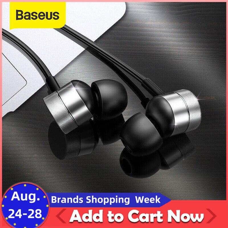 Baseus H04 Bedrade Oortelefoon Voor Telefoon Bass Sound Headset Stereo Oortelefoon In Hoofd Sport Muziek Oordopjes Oortelefoon & Mic Fone de Ouvido