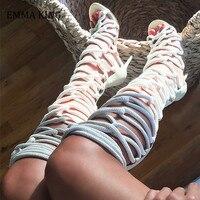 2020 Summer Gladiator Rope Sandals Boots Women Roman Open Toe Cross tied Knee High Boots Femme Beach High Heel Shoes Woman Botas