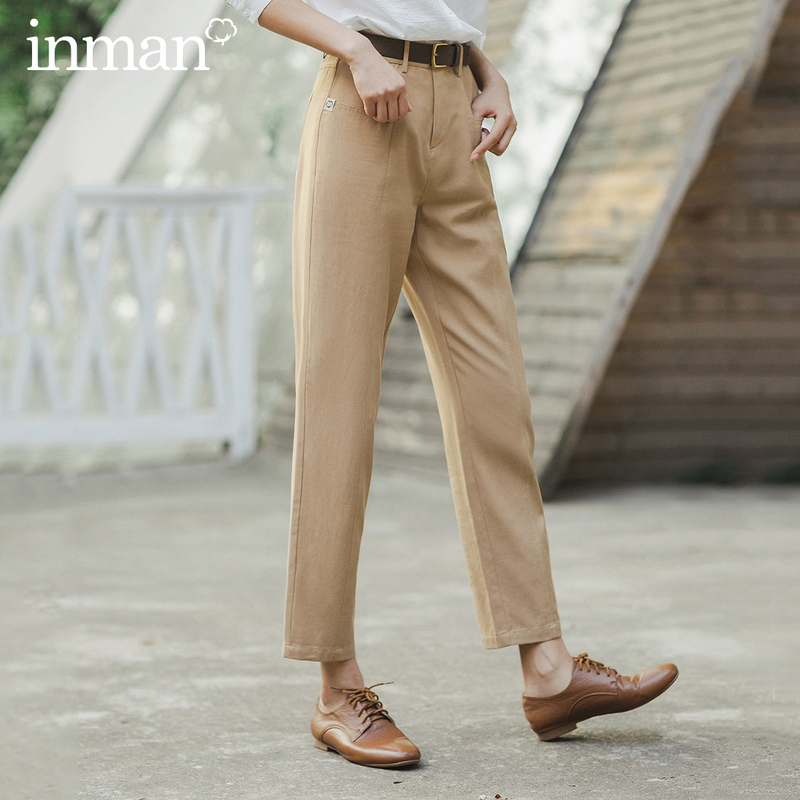 INMAN 2020 Spring New Arrival Literary Retro High Wasit Front Pocket Loose Slimming Ankle-length Trousers