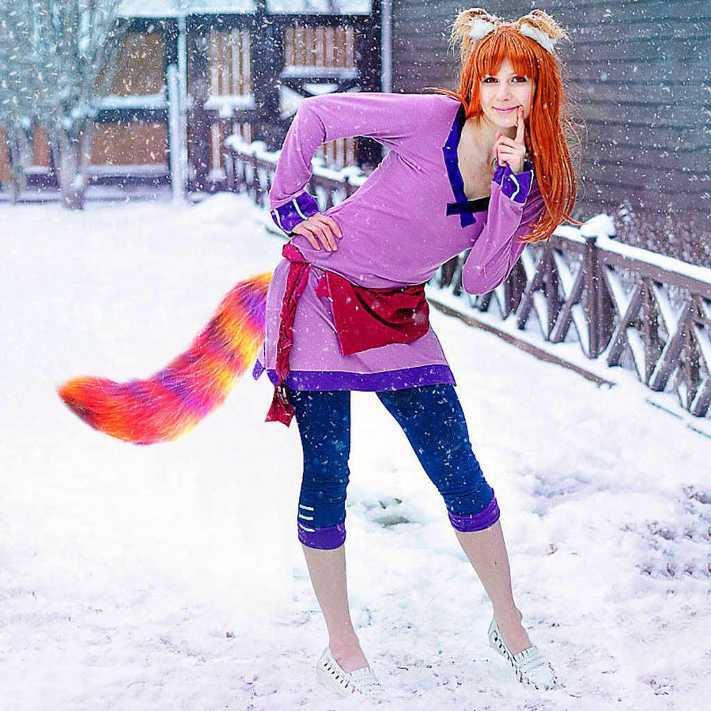 ฮาโลวีนเซ็กซี่ปรับเข็มขัดเอวสุภาพสตรี Faux Fur Fox Tail เชียร์ลีดเดอร์ปาร์ตี้คอสเพลย์สาว Kawaii Tail กางเกง femme # D