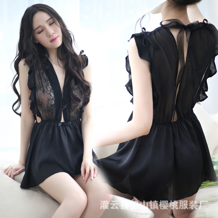 Cherry Stone Sexy Lingerie Silk Black And White High-End Flounced Skirt Uniform Temptation Perspective Tracksuit Nightgown