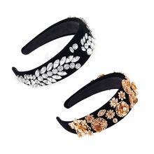Baroque Women Luxury Jewelry Ethnic Wide Headband Rhinestone Vintage Headpiece