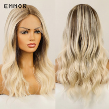 Emmor Synthetic Lace Front Wig Ombre Brown to Light Blonde Wavy Wigs for White Women Daily High Density Nature Hair Wig