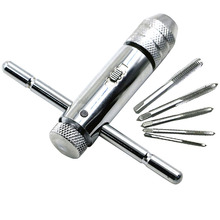 Adjustable M3-M8 T-Handle Ratchet Tap Wrench Machinist Tool Screw Taps Hand Tap Drill Set MDJ998 adjustable m3 8 m5 12 t handle ratchet tap wrench with m3 m8 machine screw thread metric plug tap machinist tool