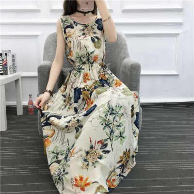 Plaj yaz elbisesi 2020 kadın Boho çiçek baskılı uzun elbiseler kadın seks kolsuz Lady akşam parti elbise Sundress LX1766