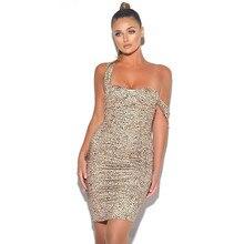Autumn Womens Leopard Printed Dress Fashion Halter Ladies Dresses Sexy Designer Night Club