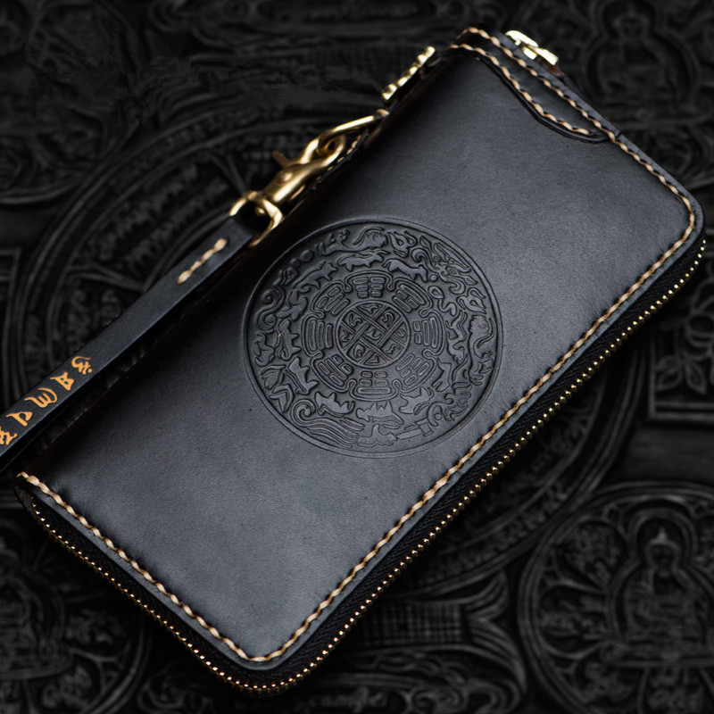 Cow Leather Delicate Pendant Wallets Embossing Bag Purses Women Men Long Clutch Vegetable Tanned Leather Wallet Card Holder image