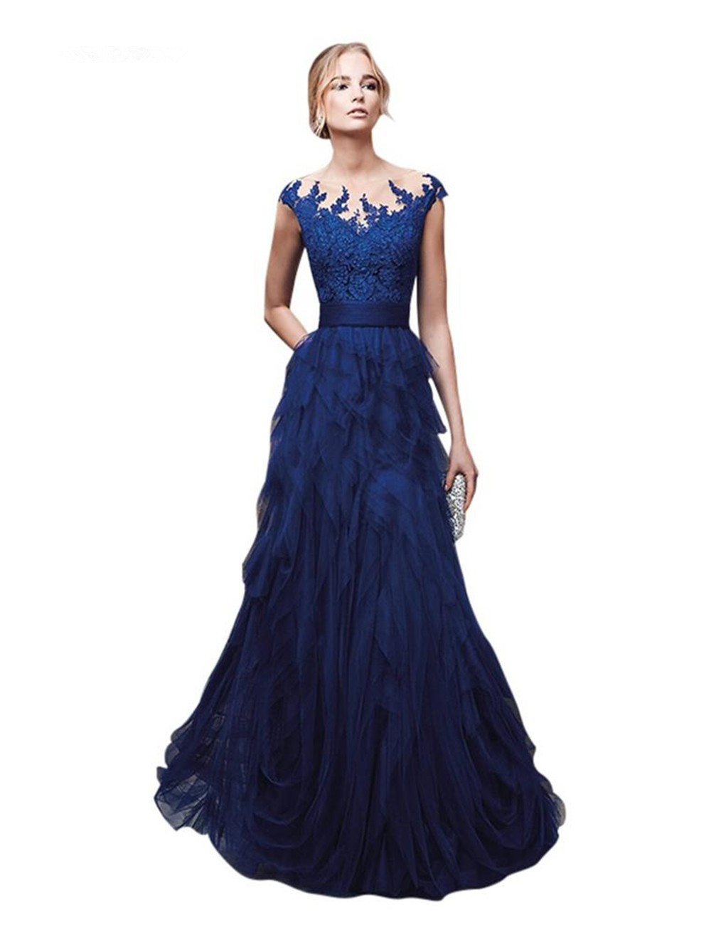 Sexy See Through Back Lace Cap Sleeve Royal Blue Prom Evening Gown 2018 Vestido De Festa Longo Long  Mother Of The Bride Dresses