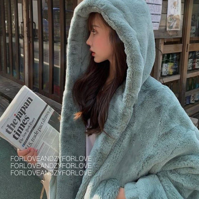 Faux Fox Fur Winter coat with Hoodie 2