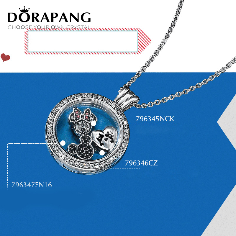 DORAPANG 100% 925 pendentif en argent Sterling bricolage magnétique chaîne mémoire médaillon flottant Hallowmas beaux charmes collier bijoux
