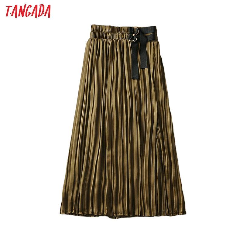 Tangada Women Silk Look Pleated Midi Skirt With Belt Strethy Waist Office Ladies Elegant Chic Mid Calf Skirts 6A143