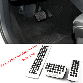 Alloy Accelerator Gas Brake Footrest Pedal Plate Pad Cover Fit For Mercedes Benz A Class 2013-2018 AT
