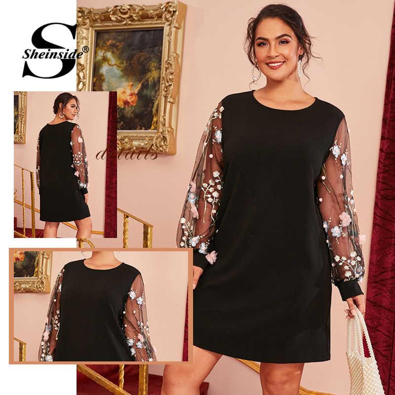 Sheinside Plus Size Embroidery Sheer Mesh Sleeve Dress Women 2019 Autumn Black Straight Dresses Ladies Lantern Sleeve Dress