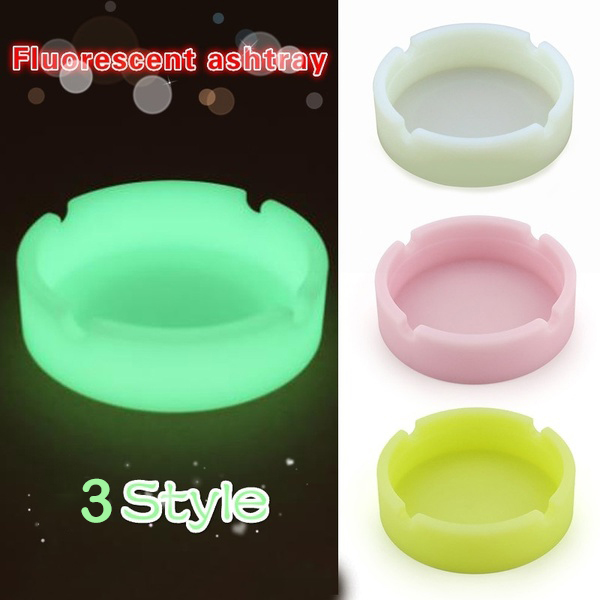 Creative Ashtrays With Luminous Silica Gel Ashtray Light  Circular Ashtray Cigar Mini Ashtray Ashtry Outdoor Gift For Boyfriend