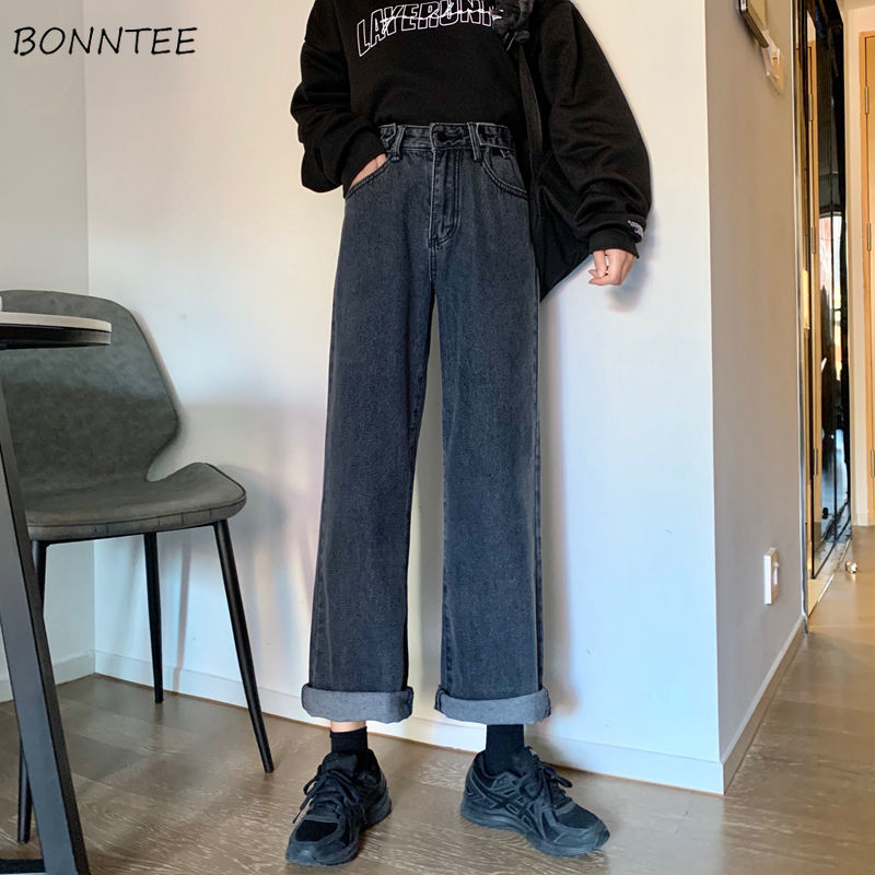 Jeans Women High Waist Retro BF Unisex Kpop All-match Simple Womens Trousers Denim Fashion Chic Casual Pockets Buttons Ulzzang